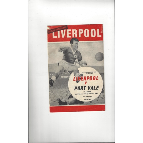 1963/64 Liverpool v Port Vale FA Cup Football Programme