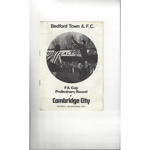 Bedford Town v Cambridge City FA Cup Football Programme 1973/74