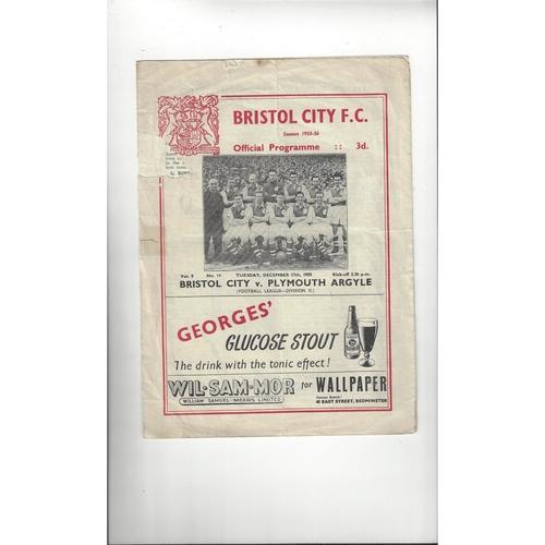 1955/56 Bristol City v Plymouth Argyle Football Programme