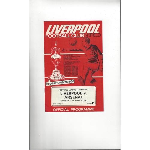1966/67 Liverpool v Arsenal Football Programme