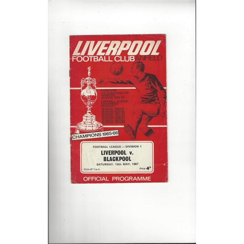 1966/67 Liverpool v Blackpool Football Programme