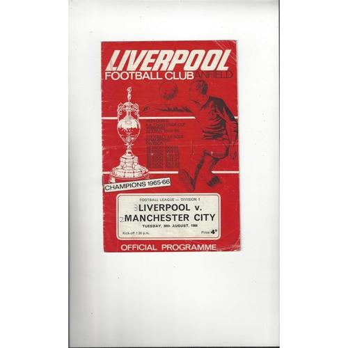 1966/67 Liverpool v Manchester City Football Programme
