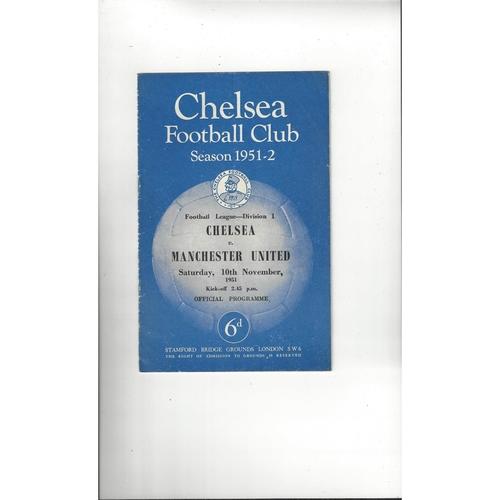 1951/52 Chelsea v Manchester United Football Programme