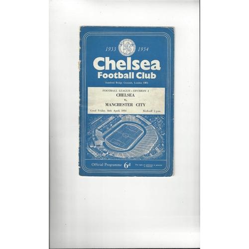 1953/54 Chelsea v Manchester City Football Programme