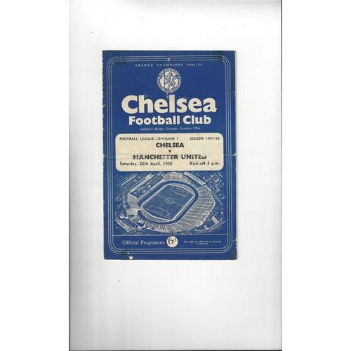 1957/58 Chelsea v Manchester United Football Programme