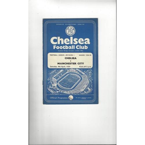 1958/59 Chelsea v Manchester City Football Programme