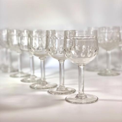 10 Val Saint Lambert crystal wine glasses