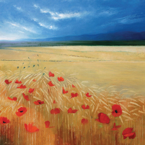Poppies and Wheat by Heather Blanchard Greeting Card