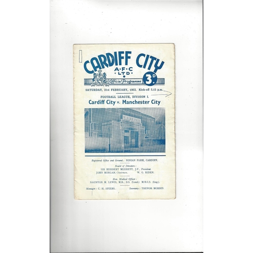 1952/53 Cardiff City v Manchester City Football Programme