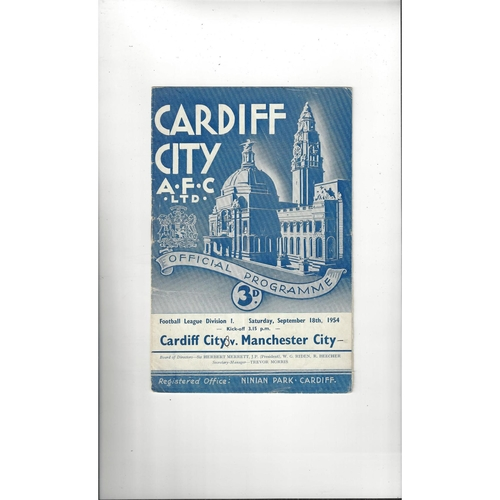1954/55 Cardiff City v Manchester City Football Programme