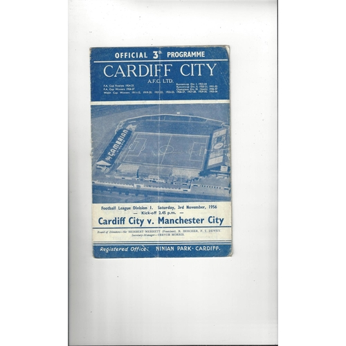 1956/57 Cardiff City v Manchester City Football Programme