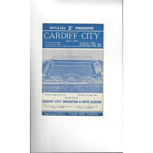 1959/60 Cardiff City v Brighton Football Programme