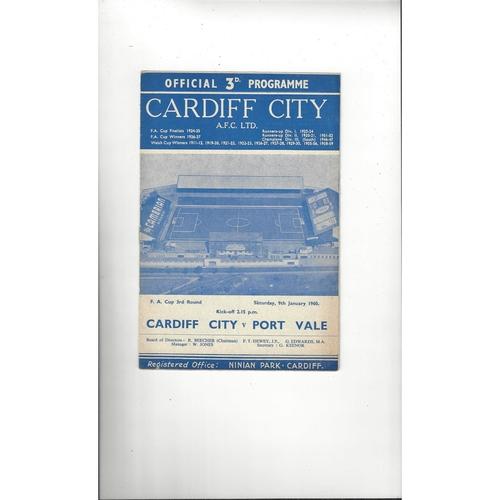 1959/60 Cardiff City v Port Vale FA Cup Football Programme