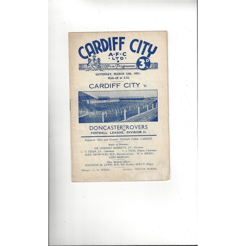 1950/51 Cardiff City v Doncaster Rovers Football Programme