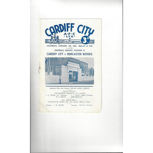 1951/52 Cardiff City v Doncaster Rovers Football Programme