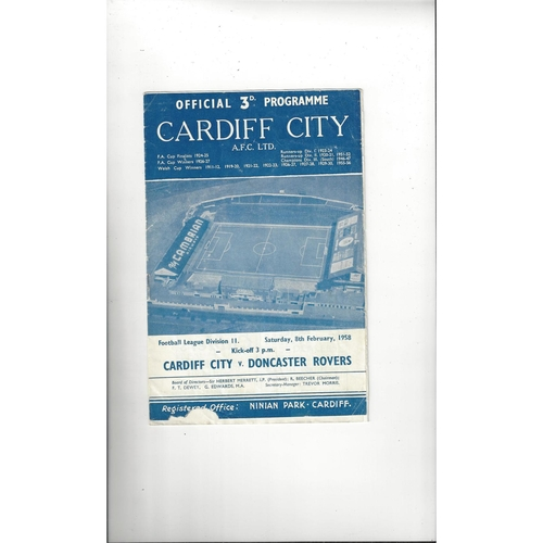 1957/58 Cardiff City v Doncaster Rovers Football Programme