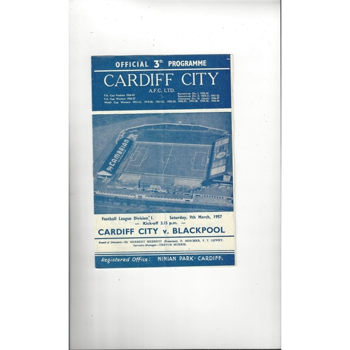 1956/57 Cardiff City v Blackpool Football Programme