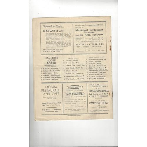 1949/50 Doncaster Rovers v Carlisle United Football Programme