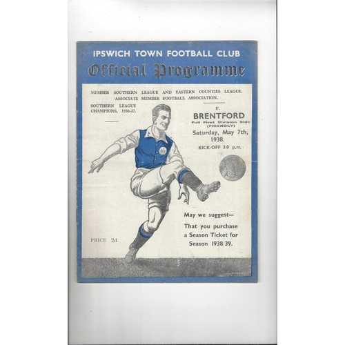 Ipswich Town v Brentford Friendly Football Programme 1937/38