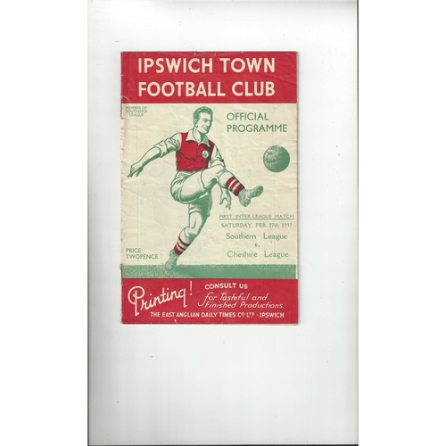 Southern League v Cheshire League Football Programme 1936/37 @ Ipswich Town