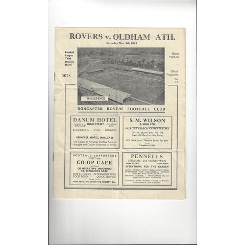 1949/50 Doncaster Rovers v Oldham Athletic Football Programme