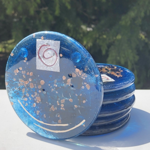 Blue & Platinum Glass Coasters (Round)
