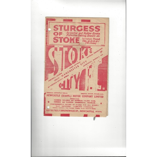 1947/48 Stoke City v Manchester City Football Programme