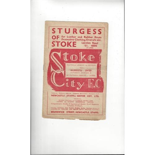 1949/50 Stoke City v Manchester United Football Programme