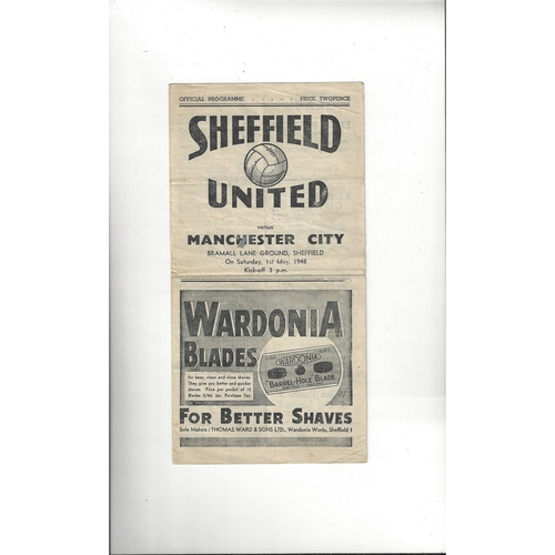 1947/48 Sheffield United v Manchester City Football Programme