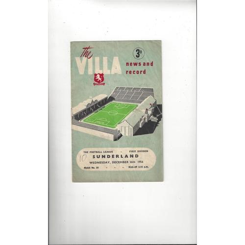 1956/57 Aston Villa v Sunderland Football Programme