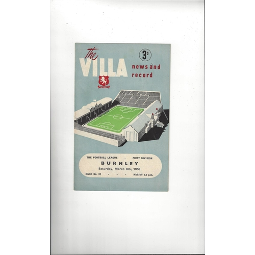 1957/58 Aston Villa v Burnley Football Programme