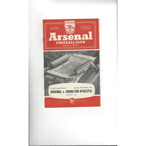 1955/56 Arsenal v Charlton Athletic Football Programme