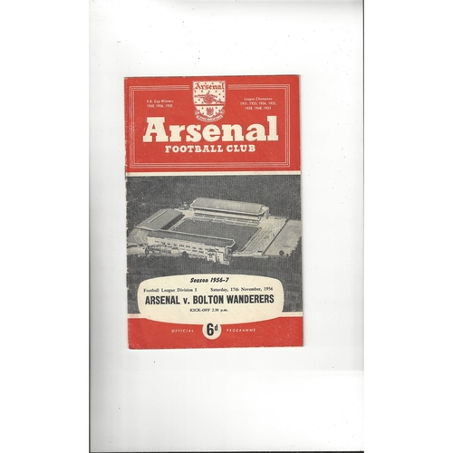1956/57 Arsenal v Bolton Wanderers Football Programme