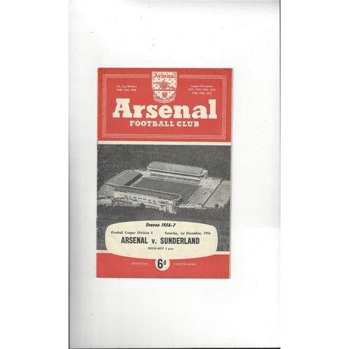 1956/57 Arsenal v Sunderland Football Programme