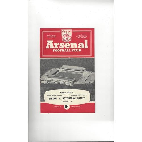 1958/59 Arsenal v Nottingham Forest Football Programme