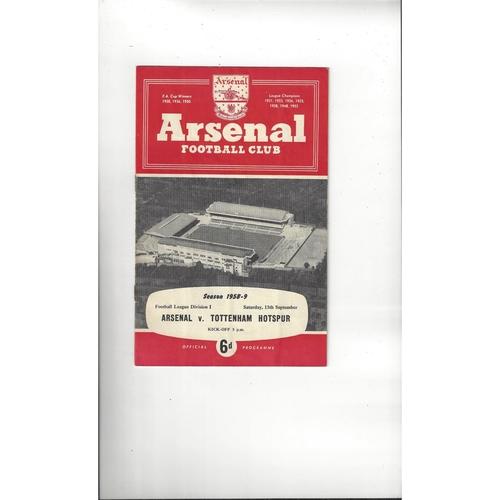 1958/59 Arsenal v Tottenham Hotspur Football Programme