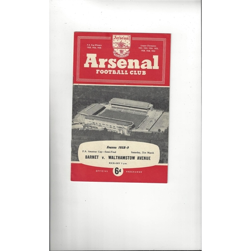 1958/59 Barnet v Walthamstow Avenue Amateur Cup Semi Final Football Programme @ Arsenal