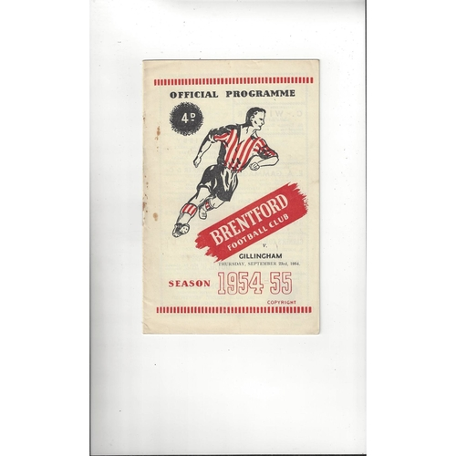 1954/55 Brentford v Gillingham Football Programme