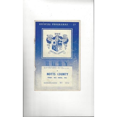1955/56 Bury v Notts County Football Programme