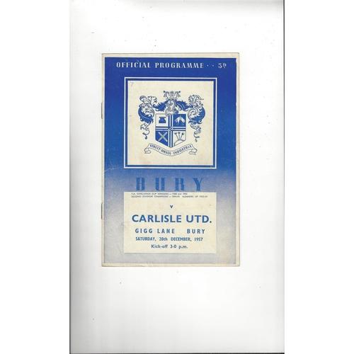1957/58 Bury v Carlisle United Football Programme