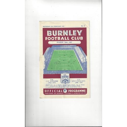 1956/57 Burnley v Newcastle United Football Programme