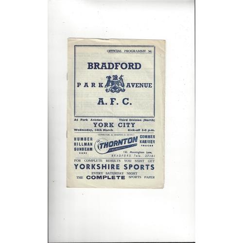 1955/56 Bradford Park Avenue v York City Football Programme