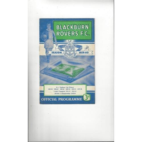 1959/60 Blackburn Rovers v Sunderland Football Programme