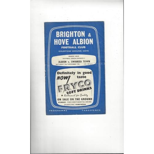 1958/59 Brighton v Swansea Town Football Programme