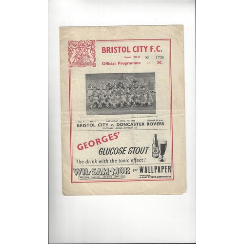 1955/56 Bristol City v Doncaster Rovers Football Programme