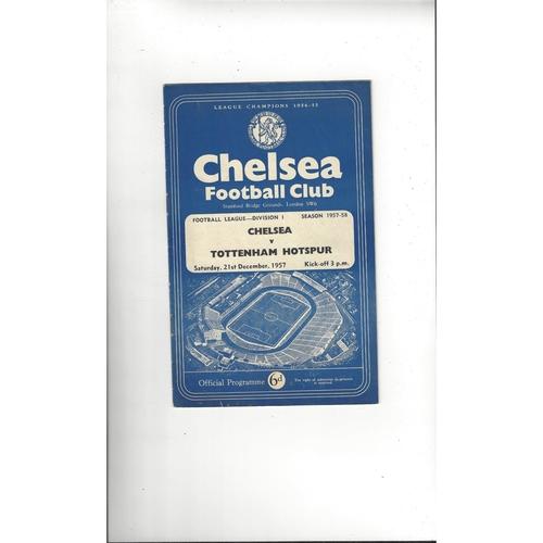 1957/58 Chelsea v Tottenham Hotspur Football Programme