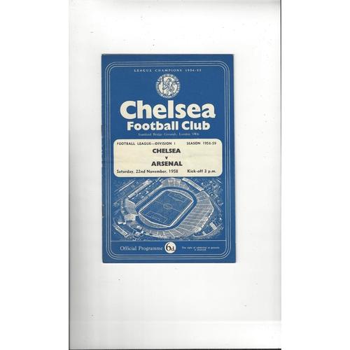 1958/59 Chelsea v Arsenal Football Programme