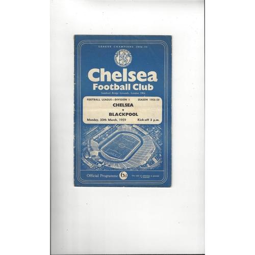 1958/59 Chelsea v Blackpool Football Programme