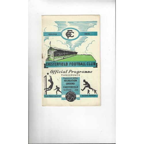 1955/56 Chesterfield v Chester Football Programme