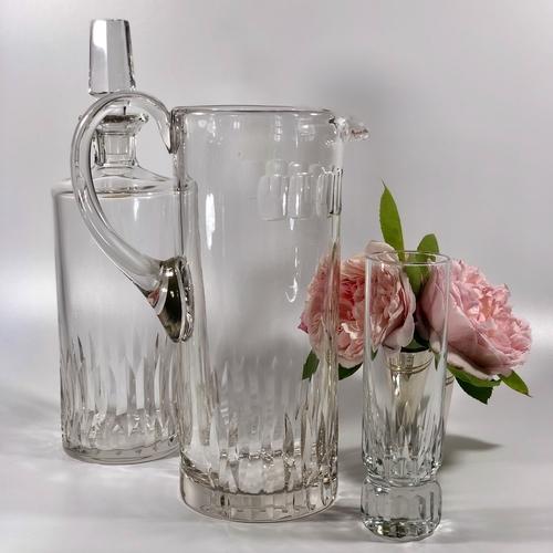 Tall French cut crystal jug